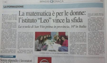 """La matematica è per le donne: l'isituto """"Leo"""" vince la sfida"""