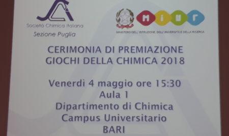 4 maggio 2018 – CERIMONIA DI PREMIAZIONE GIOCHI DELLA CHIMICA