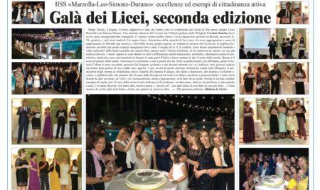Premiazione delle eccellenze e degli esempi di cittadinanza attiva Seconda edizione del galà di fine anno del Liceo Marzolla Leo Simone Durano